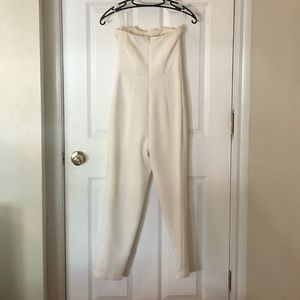 Express Dresses - White jumpsuit with pockets